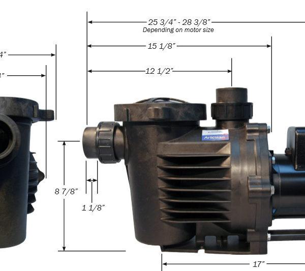HKF Artesian 2 Low RPM Pond Waterfall pump Dimensions