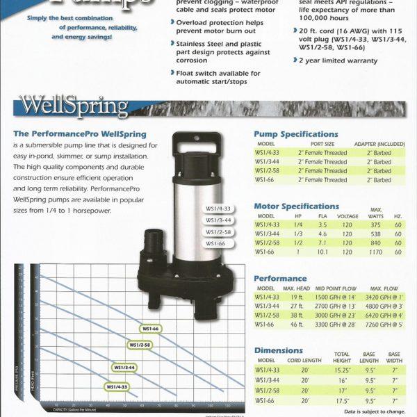 HKF Wellspring submersible waterfall pump flier